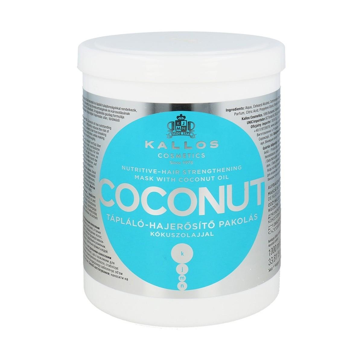 KALLOS KJMN Coconut Hair Mask 1000ml - Maska odżywcza z olejkiem kokosowym