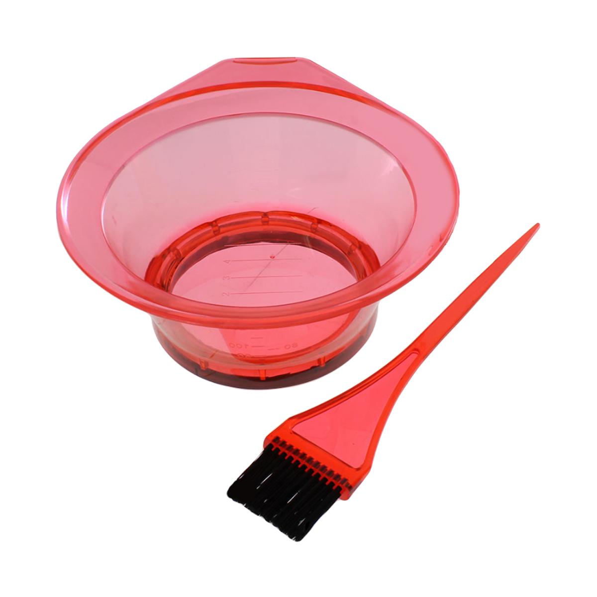 Miseczka i pędzelek do koloryzacji włosów i zabiegów fryzjerskich (kolor dobierany losowo)