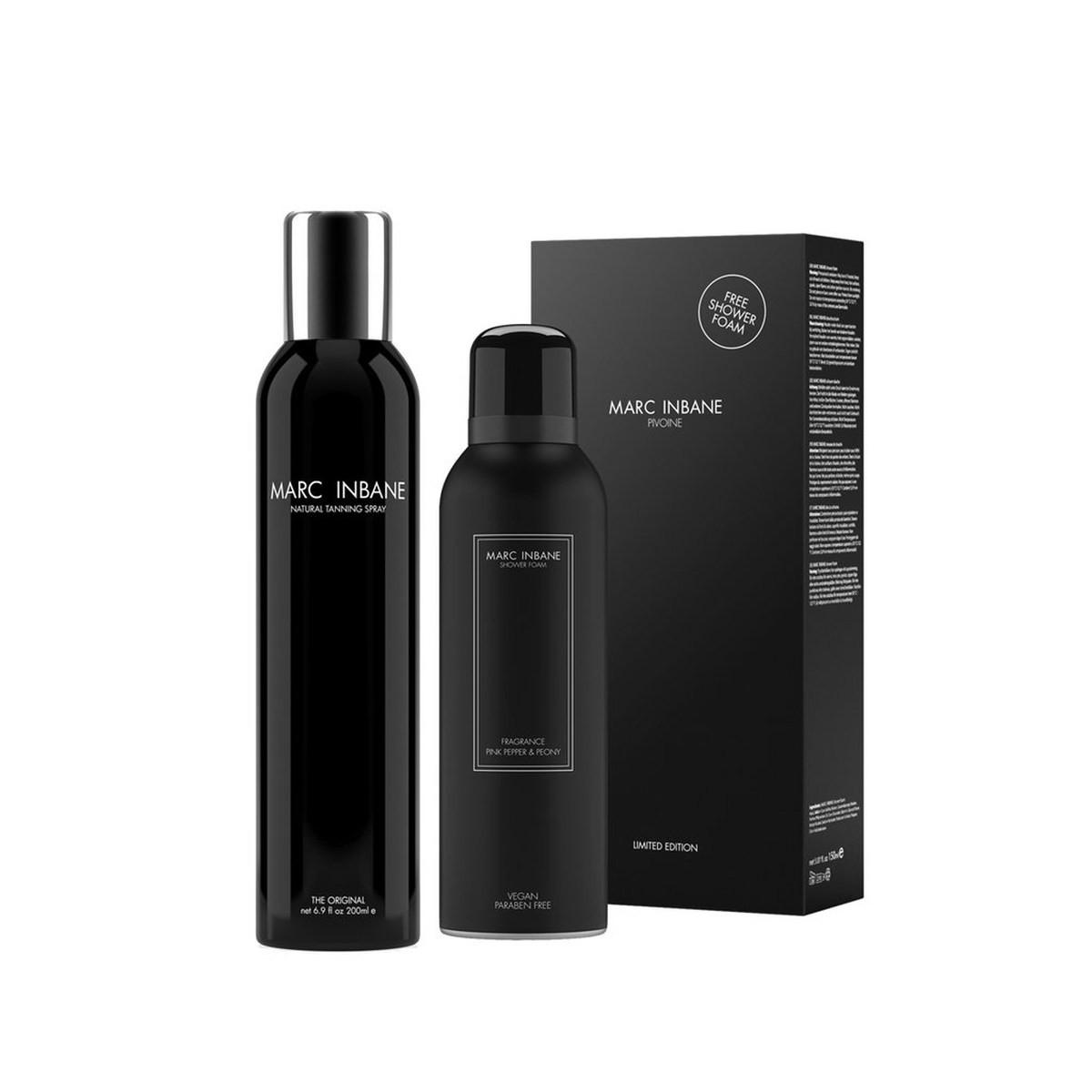 MARC INBANE Pivoine: Spray 200ml + Shower Foam 150ml - Zestaw spray samoopalający i pianka pod prysznic