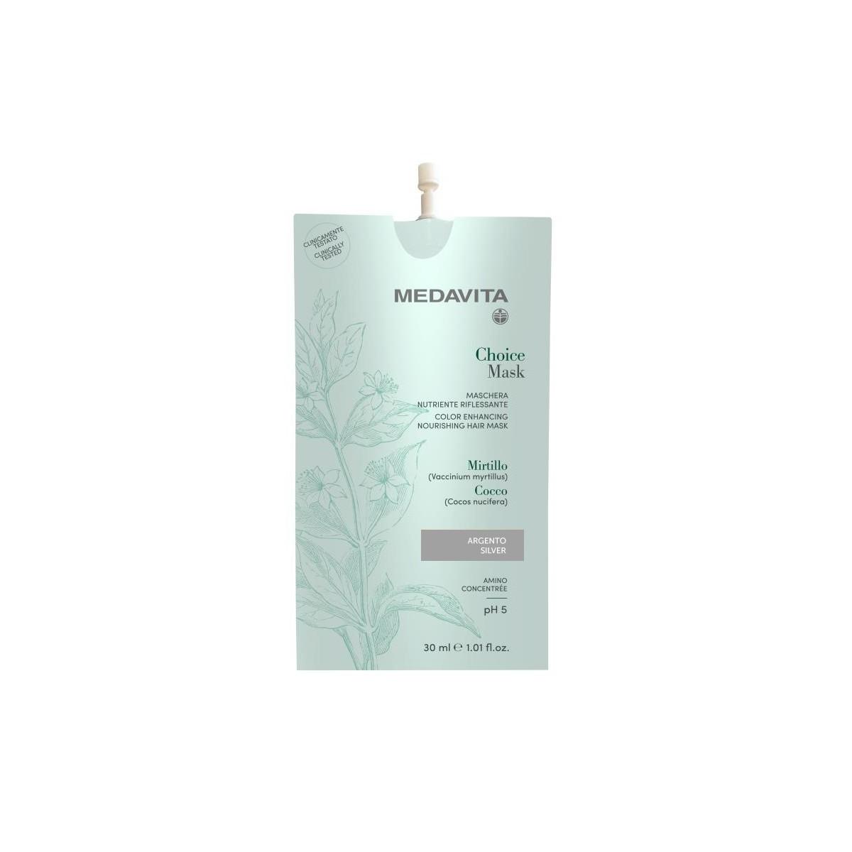 MEDAVITA Choice Mask Argento / Silver 30ml - Maska do włosów koloryzująca, zmieniająca kolor Srebrna
