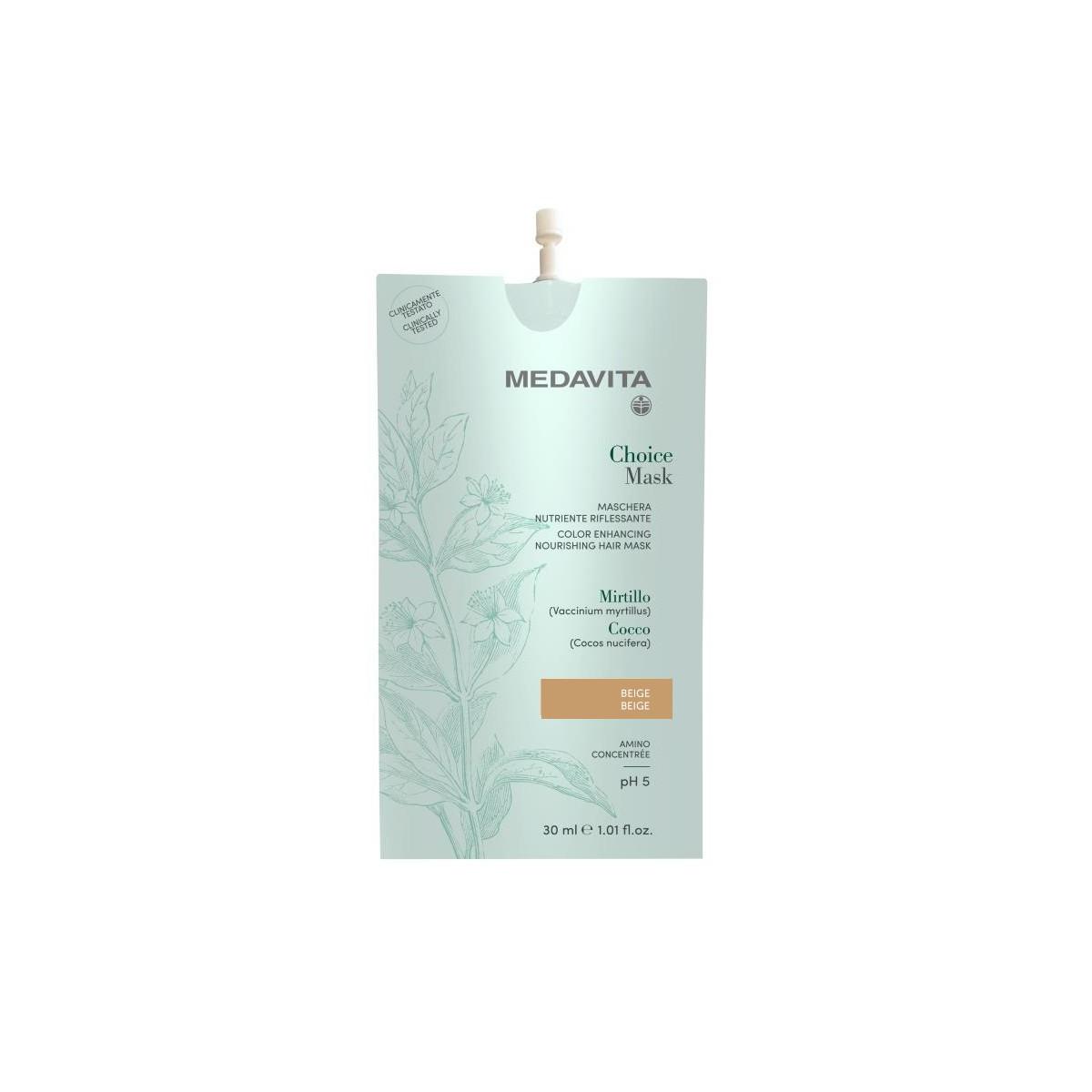 MEDAVITA Choice Mask Beige 30ml - Maska do włosów koloryzująca, zmieniająca kolor Beżowa
