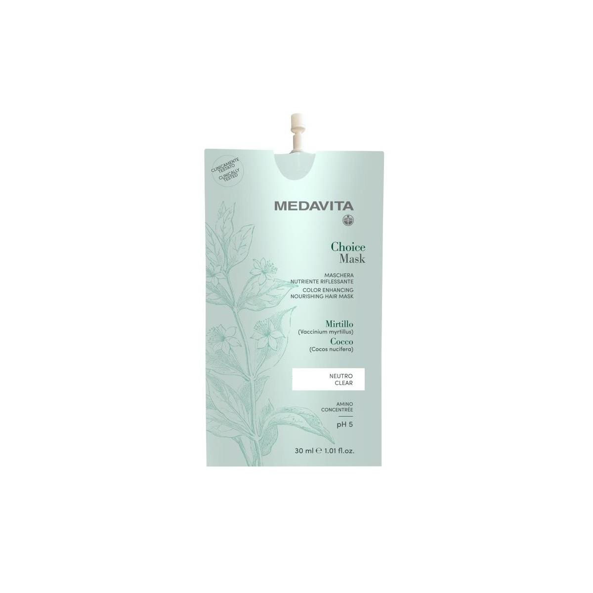 MEDAVITA Choice Mask Neutro / Clear 30ml - Maska do włosów, nawilżająco-nabłyszczająca Bezbarwna