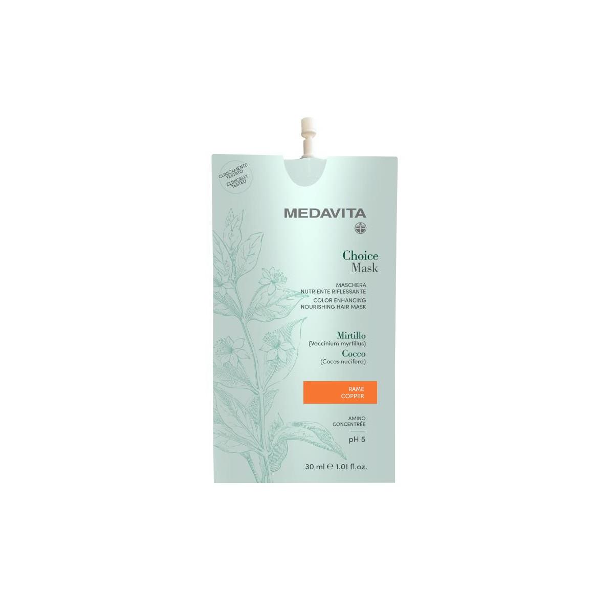 MEDAVITA Choice Mask Rame / Copper 30ml - Maska do włosów koloryzująca, zmieniająca kolor Miedziana
