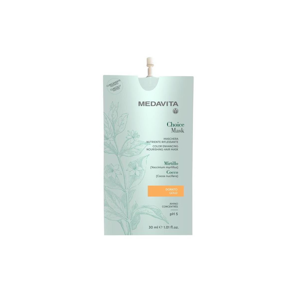 MEDAVITA Choice Mask Dorato / Gold 30ml - Maska do włosów koloryzująca, zmieniająca kolor Złota