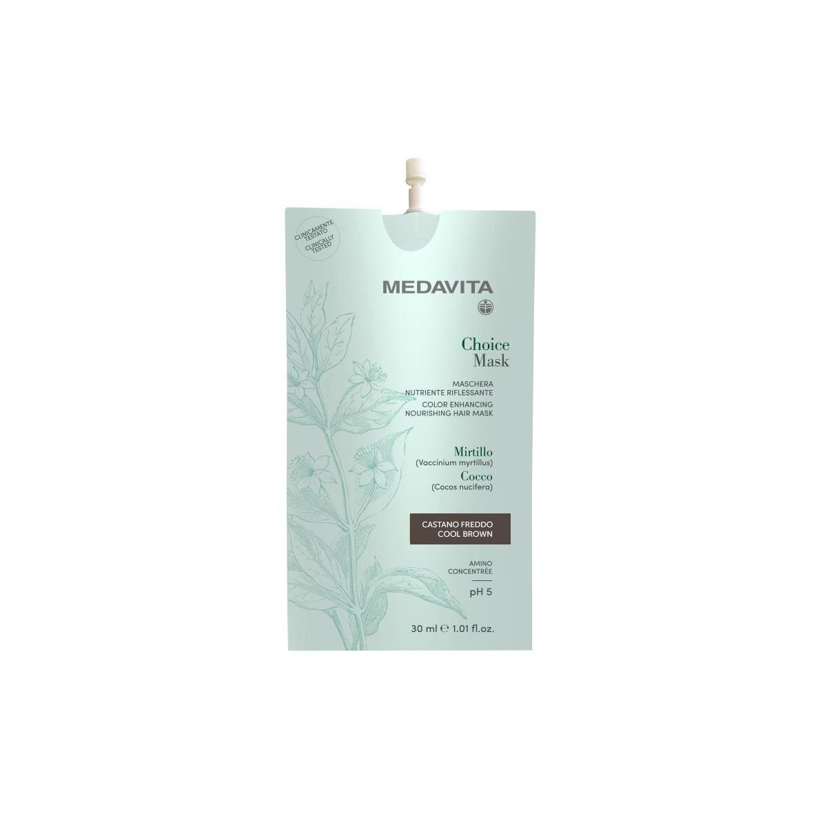 MEDAVITA Choice Mask Castano Freddo / Cool Brown 30ml - Maska do włosów koloryzująca, zmieniająca kolor Zimny Brąz