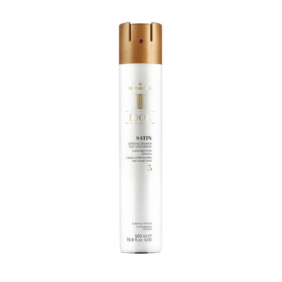 MEDAVITA Idol Satin Strong Shaper Dry Hair Spray 5 500ml - Lakier do włosów o ultra suchym wykończeniu (mocny)