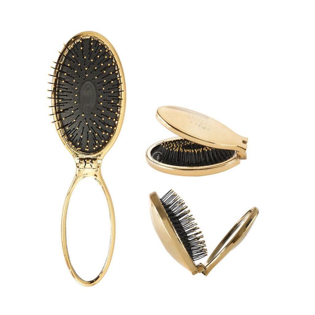 Szczotka rozplątująca włosy składana złota z lusterkiem