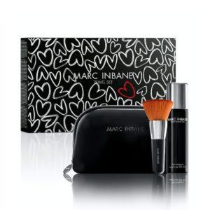 Zestaw podróżny: spray samoopalający + pędzel kabuki + kosmetyczka