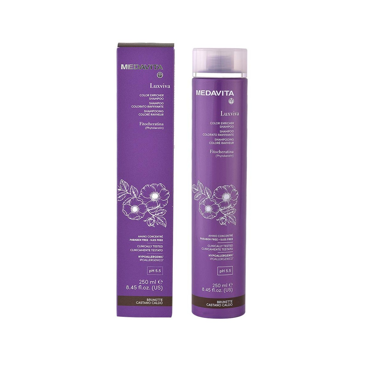 MEDAVITA Luxviva Color Enricher Shampoo Brunette 250ml - Szampon wzmacniający kolor Brązowy