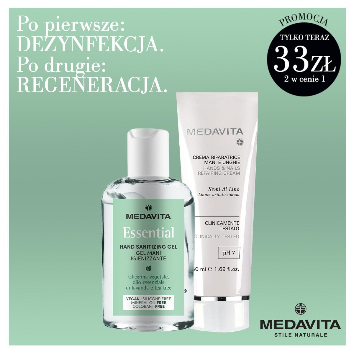 Antywirusowy żel antybakteryjny do rąk 60% alkoholu + Krem do rąk - MEDAVITA (pakiet)
