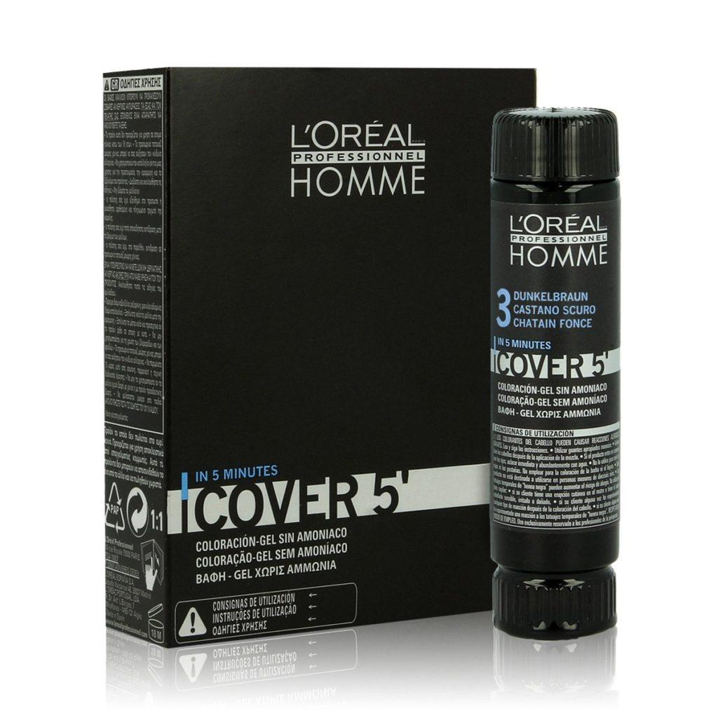 LOREAL Homme Cover 5' nr 5 3x50ml - Żel do koloryzacji włosów jasny brąz