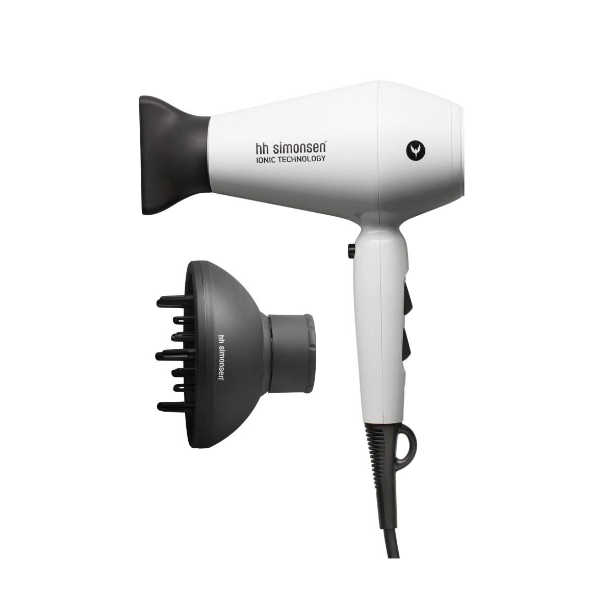 HH SIMONSEN Compact Dryer White + Diffusor - Kompaktowa suszarka do włosów + Dyfuzor kompaktowy gratis - Edycja limitowana