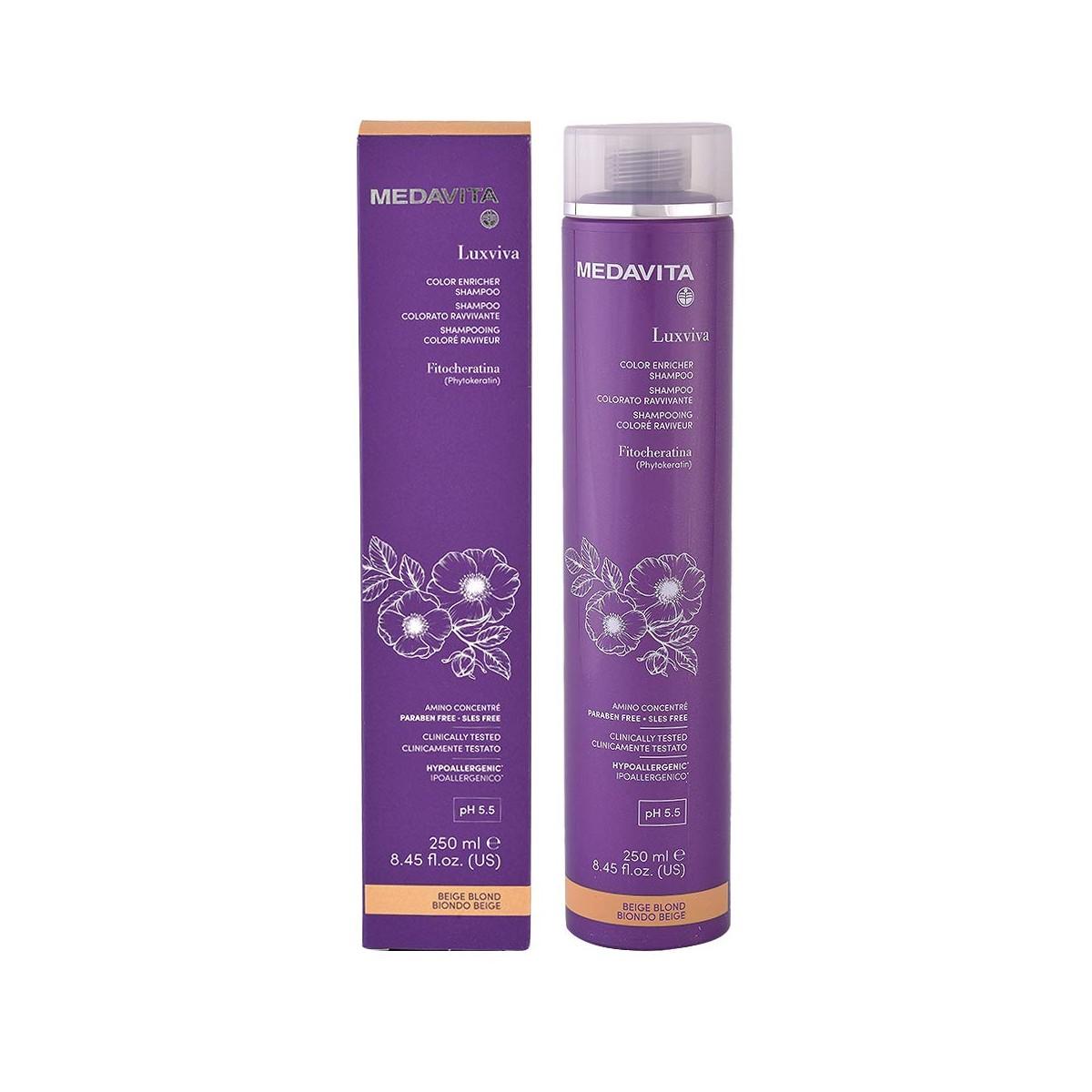 MEDAVITA Luxviva Color Enricher Shampoo Beige Blond 250ml - Szampon do włosów tonujący i wzmacniający kolor Beżowy Blond
