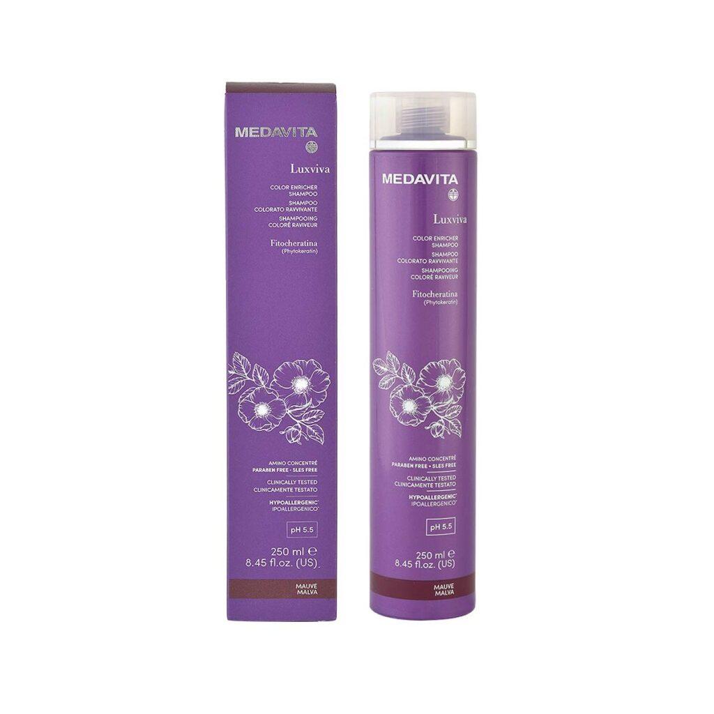 MEDAVITA Luxviva Color Enricher Shampoo Mauve 250ml - Szampon do włosów tonujący i wzmacniający kolor Fiołkowo-różowy