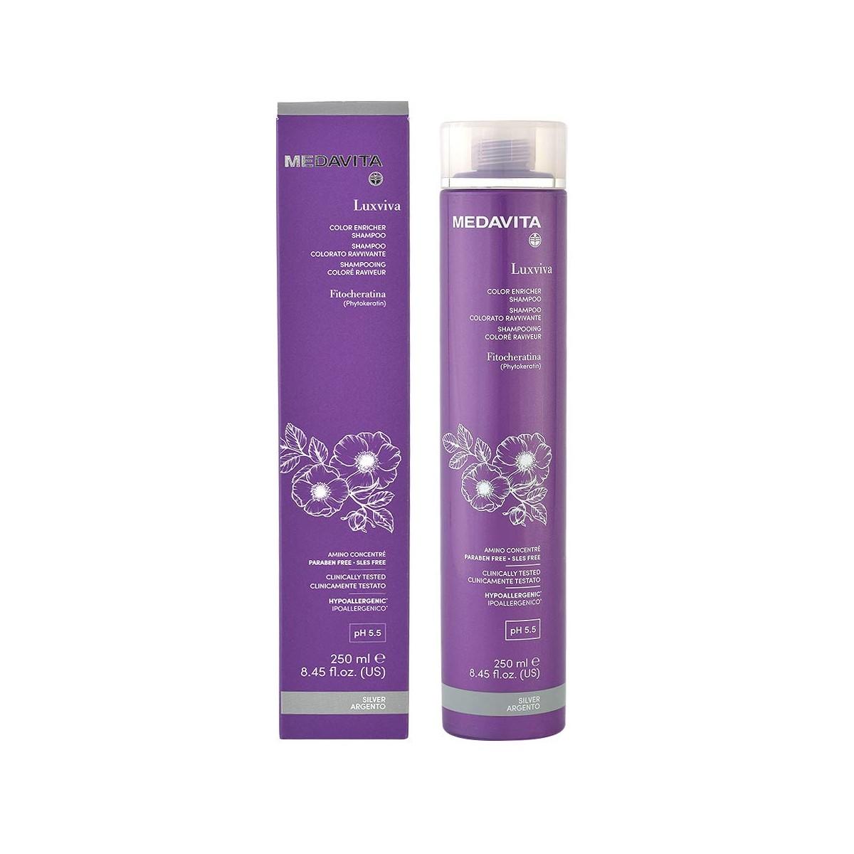 MEDAVITA Luxviva Color Enricher Shampoo Silver 250ml - Szampon do włosów tonujący i wzmacniający kolor Srebrny