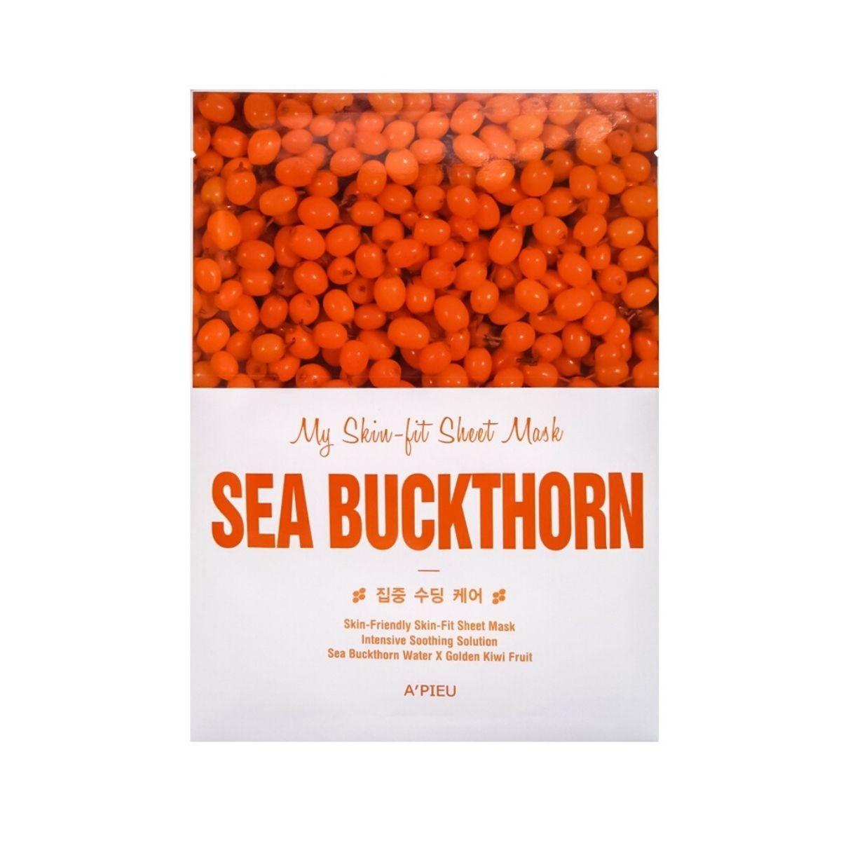 APIEU My Skin-fit Sheet Mask Sea Buckthorn 25g - Maseczka w płachcie nawilżająco-rozświetlająca