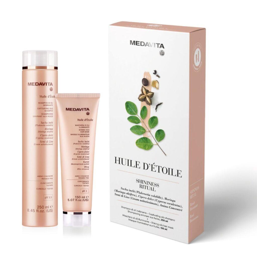 MEDAVITA Huile D'Etoile Kit - Zestaw rozświetlający: szampon i maska