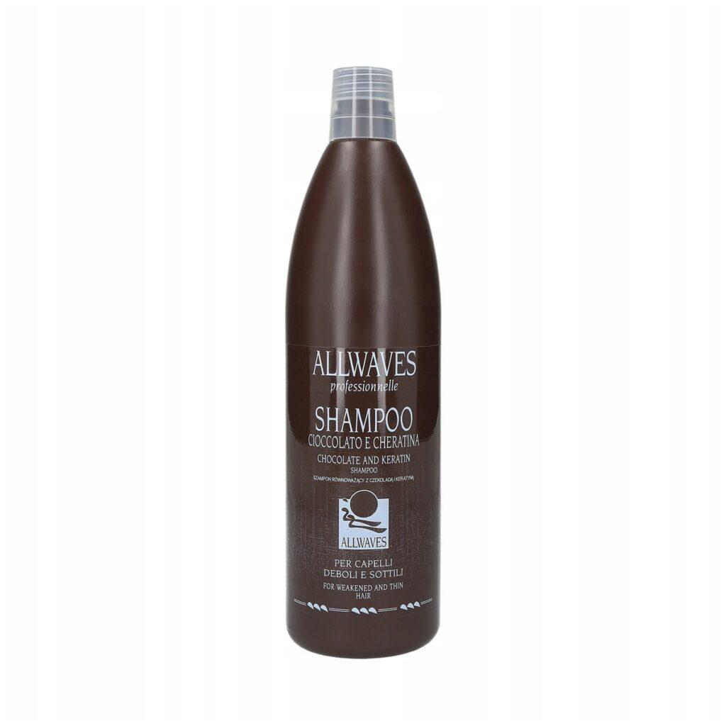 ALLWAVES Restructuring Shampoo 1000ml - Szampon czekoladowy z keratyną do włosów suchych i zniszczonych