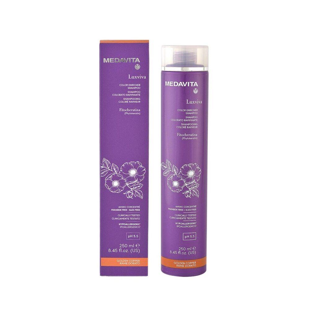 MEDAVITA Luxviva Color Enricher Shampoo Golden Copper 250ml - Szampon do włosów tonujący i wzmacniający kolor Złoto-miedziany